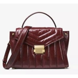 NWT Michael Kors Whitney Large TH Oxblood Leather
